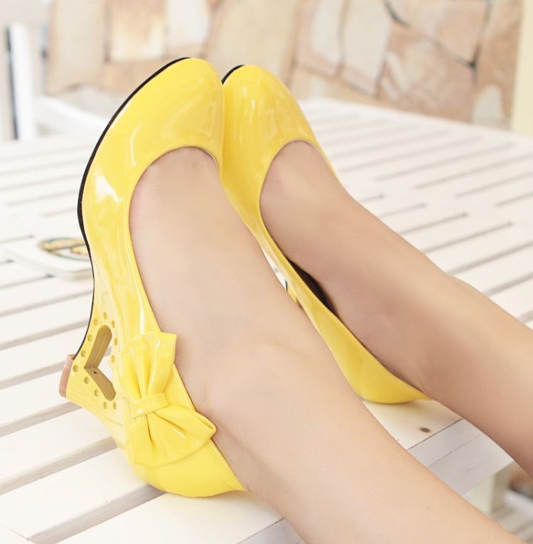 Sweet Women/'s Patent Leather Bowtie Wedge Heel Wedding Party Dress Shoes Pumps