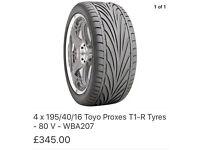 Toyo proxes 195/40/16 x4 £140 ono