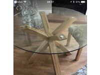 Glass Dining table with real wood base (next)