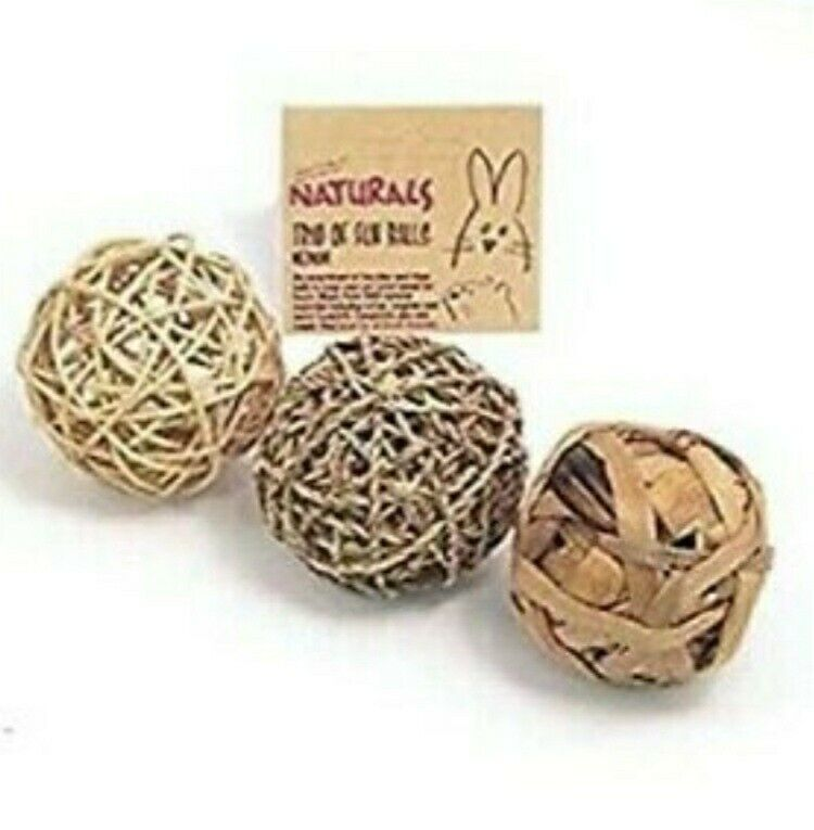 Rosewood Naturals Trio Fun 6  Medium Balls For Small Animals Cats Rabbits NIP