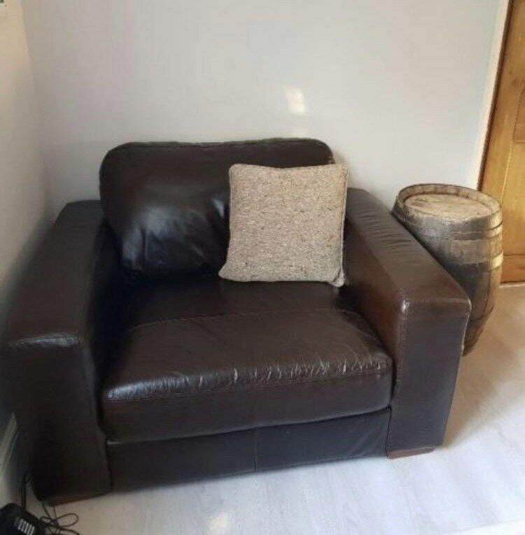 Brown Leather Cuddle Chair
