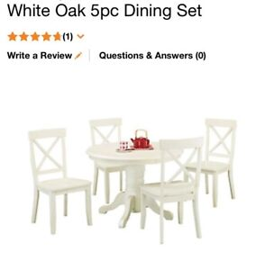 White table with chairs.