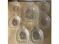 Beautiful Vintage 70s Valeria Roma Italian Glass 7 Piece Pineapple Bowl Set