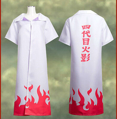 Naruto Costume 4th Gen Leaf Hokage Naruto Minato Cosplay Robe Cloak All Size NEW - Naruto Costums