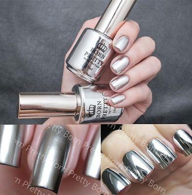 2Pcs 15ML Metallic Mirror Effect Nail Polish Metal Silver Varnish &15ML Top Coat