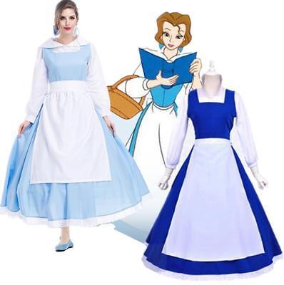 Frauen Damen Kleid Cos Kostüm Die Schöne und das Biest Belle Prinzessin (Belle Kostüm Übergröße)