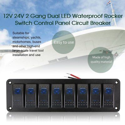Rv Rocker Switches (8 Switches Waterproof Car Caravan RV Rocker Switch Panel Circuit Brea AB)
