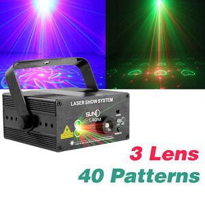 SUNY 3 Lens 40 Patterns RGB Stage Laser Light BLUE LED DJ show Lighting Disco ks