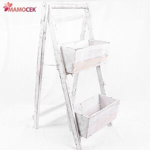 Portavaso fioriera scaletta scala 2 vasi legno sbiancato for Scala in legno shabby