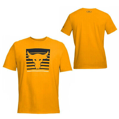 Under Armour Mens x Project Rock T-Shirt Graphic Top Orange 1321412 750