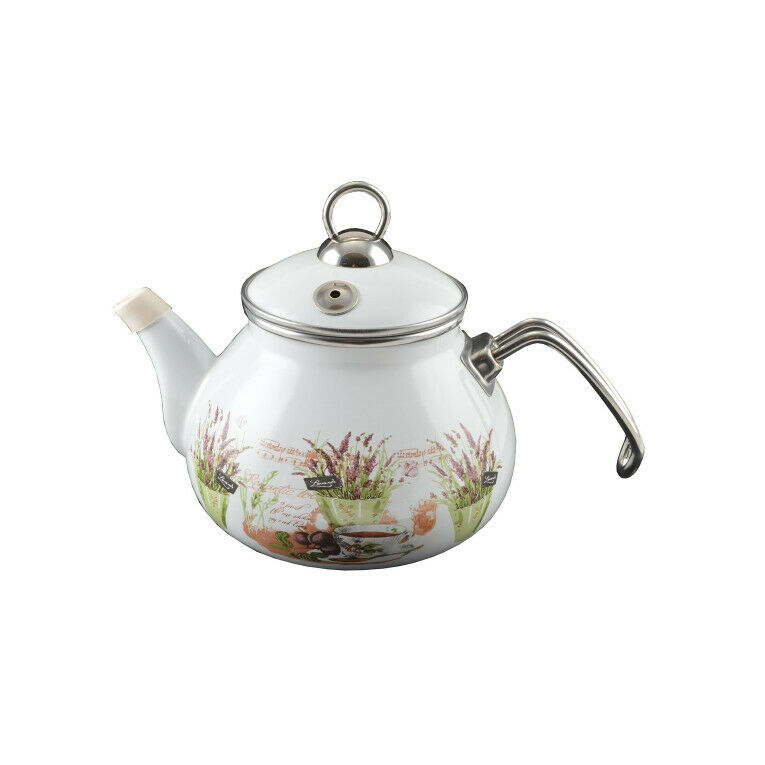 Teekocher Wasserkocher Teezubereiter Edelstahl und Emaille 2 L,Perfect Home