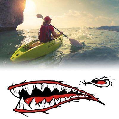 2pcs/set Shark Teeth Mouth Sticker Decals for Fishing Ocean Boat Canoe Dinghy usato  Italia