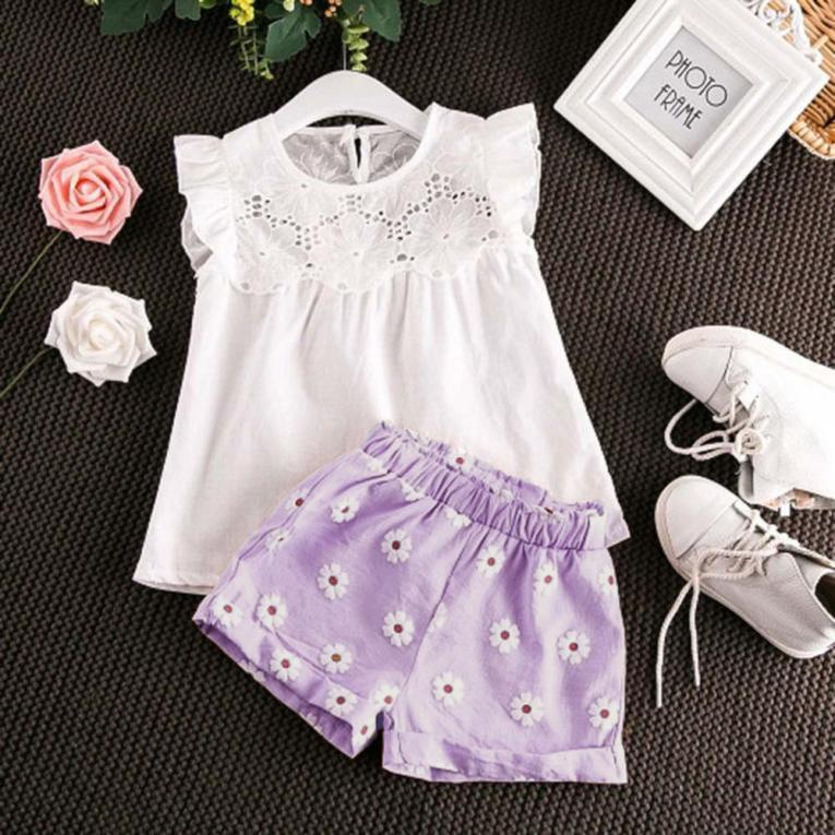 Toddler Baby Kids Girls Outfits Clothes T-shirt Vest Tops+Shorts Pants 2PC Set