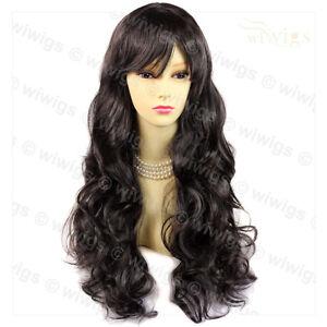 Sexy-Beautiful-Layered-Curly-dark-Brown-Long-Ladies-Wigs-skin-top-hair-WIWIGS-UK