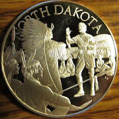 1977 North Dakota Franklin Mint Sterling Silver Round - ND 23.9 grams