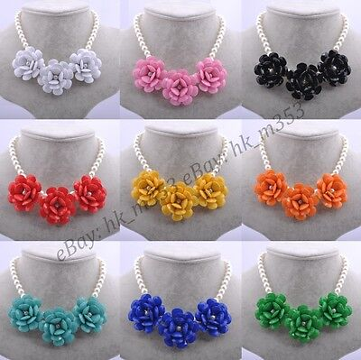 (New Fashion pearl Necklace for Women Jewellery Acrylic Beaded Flowers Necklaces)
