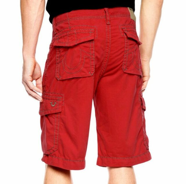 Men True Religion Isaac Trooper CWR Vintage Red Cargo Shorts Sz 32 ...