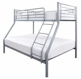 """""""DELIVER SAME DAY"""" """"RRP£250"""" """"NEW STYLISH ALEXA TRIO SLEEPER BUNK BED IN WHITE/SILVER"""" """"OPT MATTRESS"""