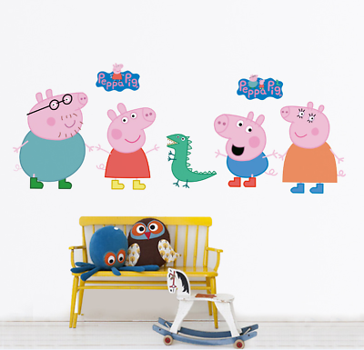 Home Decoration - Large Pink PIG Wall Stickers Kids Bedroom Nursery Decor Art Mural Decal UK