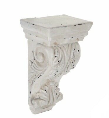 LARGE RUSTIC CORBELS / BRACKETS Distressed Antique White Wood Corbels X 2 Antique White Rustic Wood