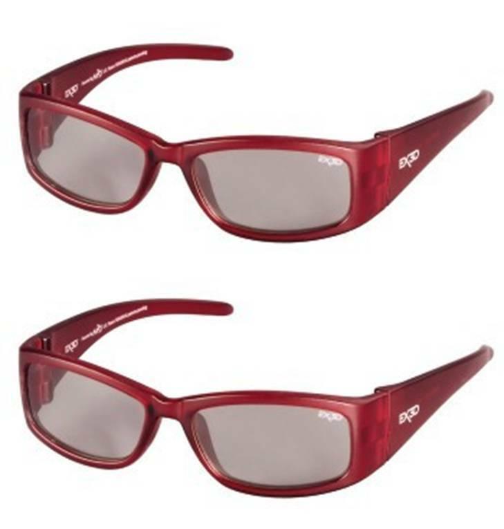 2x PACK EX3D Kinder 3D Brille passiv Polfilterbrille rot für 3D-TV Beamer RealD
