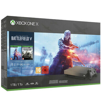 Xbox One X 1TB Gold Rush Special Edition Console Battlefield V Bundle.UK STOCK