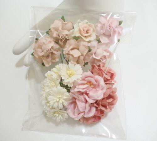 21 Pink Mix Paper Flower Wedding bouquet Favor Gift Scrapbook TH/SET-F43(123)