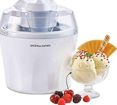 Andrew James 1.5 Litre Ice Cream Maker Sorbet & Frozen Yoghurt Machine - White