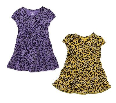 New Healthtex V-Neck Leopard Animal Print Girls Toddler Dress, Yellow or Purple](Toddler Leopard Dress)
