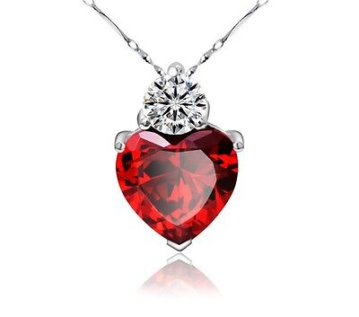 18  925 Sterling Silver Red Garnet Heart Crystal Pendant Necklace Gift Box B6