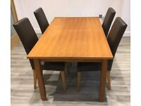NEXT Oak Veneer Etending Dining Table & 4 Leather Chairs FREE DELIVERY 287