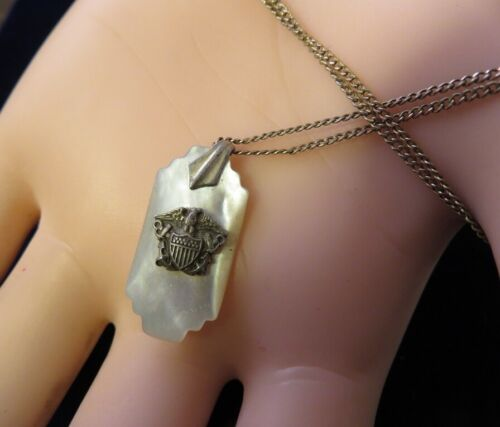 U.S. NAVY VINTAGE GF SWEETHEART MOTHER OF PEARL PENDANT NECKLACE 17 INCH