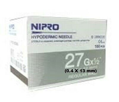100 Nipro Hypodermic Needle Thin Wall 0.4 X13 Mm 27g X12 Sterile Science Study