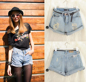 Hot-Retro-Women-Girls-High-Waist-Ripped-Flange-Hole-Wash-White-Jean-Denim-Shorts
