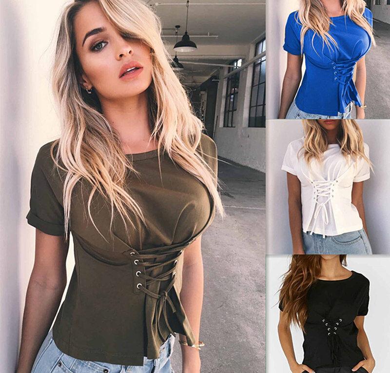 $3.99 - USA Fashion Womens Ladies Casual Loose Tops Short Sleeve T-Shirt Summer Blouse