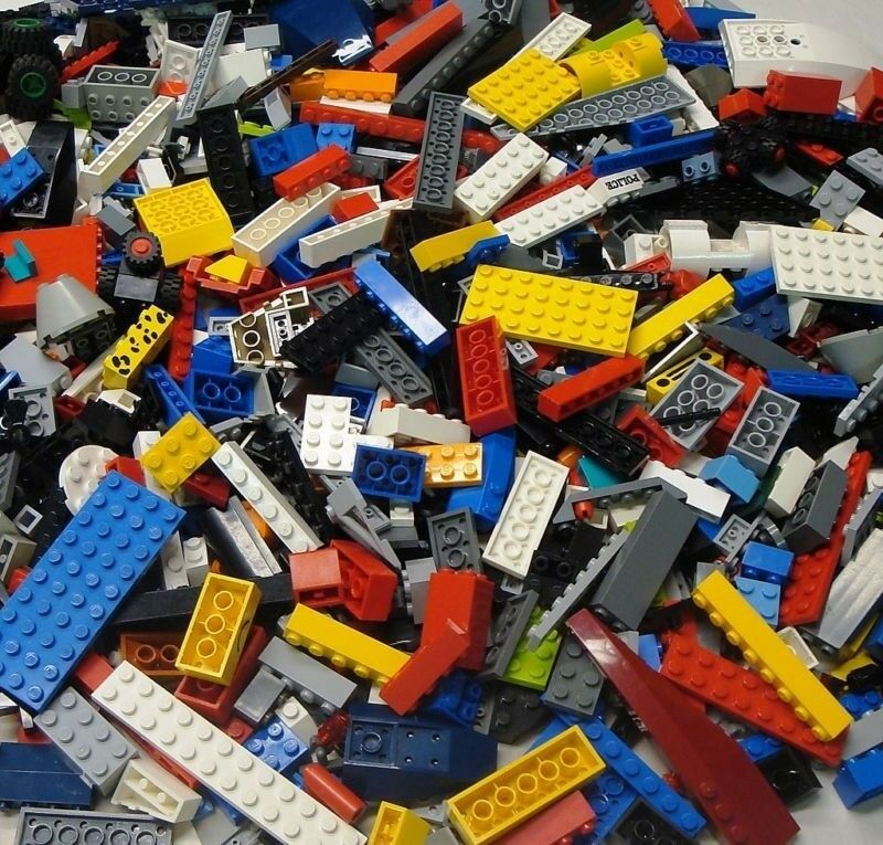 100 LEGO Bricks Blocks Baseplates Wheels BULK Parts LOT