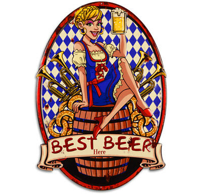 GUSSEISEN WANDSCHILD MADL mit BIER [ca.60x45cm] IRON WALL PLATE 'BEST BEER HERE'