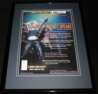 Britney Spears 2002 AOL Music Framed 11x14 ORIGINAL Advertisement