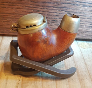 Wood and Metal Pipe Bowl with Hinged Lid and Stand
