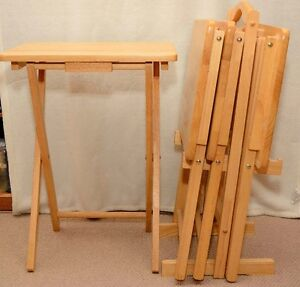 TV tray tables (four) with stand