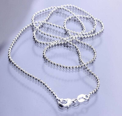 925 Sterling Silver Plated Ball Bead Chains Necklace Lobster Clasp for - Bead Chain Necklace