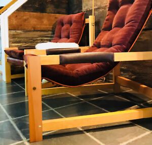 Fauteuil mid century style transat scandinave assise en cuir