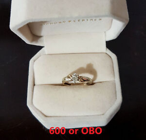 1/2 Carat Tear Drop 14K White and Yellow Gold Engagment RING