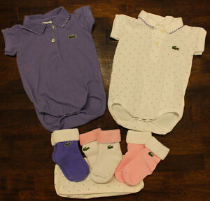 Infant Girls Lacoste Collared Onsies and Socks