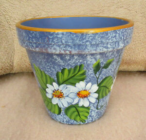 Flower / Plant Pottery Pot - DAISY DESIGN - Hand Painted