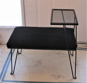 Mid-Century Modern Gossip/Telephone Table And Seat/Bench
