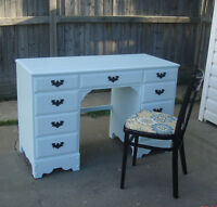 FRENCH COTTAGE 7 DRAWER DESK VANITY & CHAIR- SOLID WOOD ICE BLUE