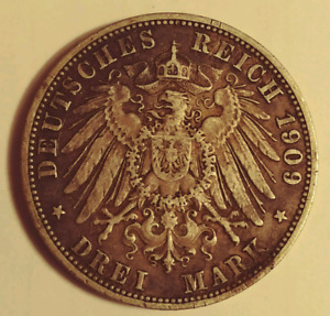2 original silver Prussian Coins 1876A 2 marks 1909A 3 marks