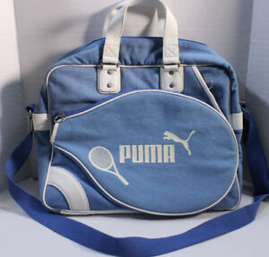 Puma Retro Blue Canvas Racket Tote Bag