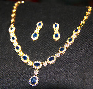STUNNING DIAMOND AND SAPPHIRE NECKLACE AND EARRINGS